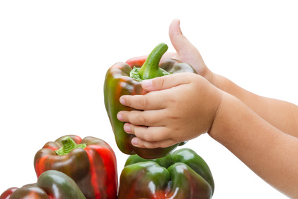 Child with peppers