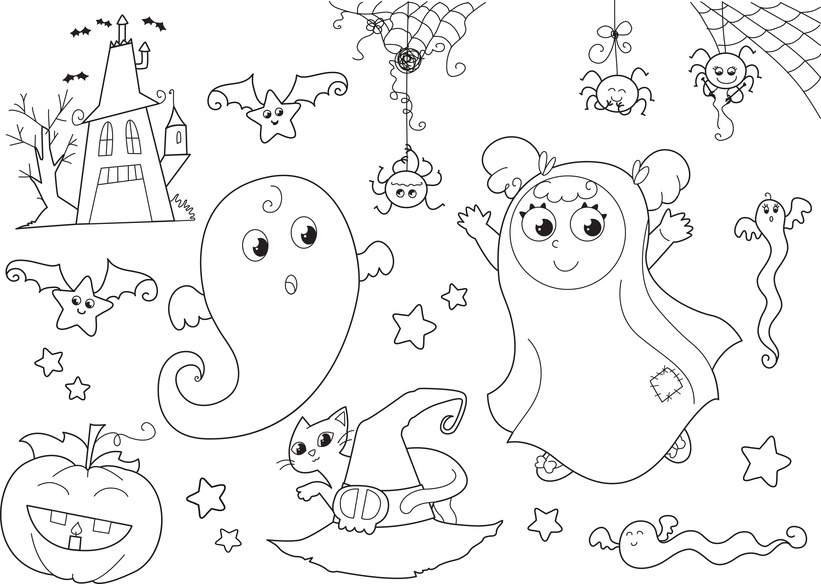 Halloween set with ghosts, masked girl, house, bats, spiders